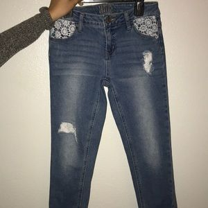 Justice Jeans cropped flower crochet patches!